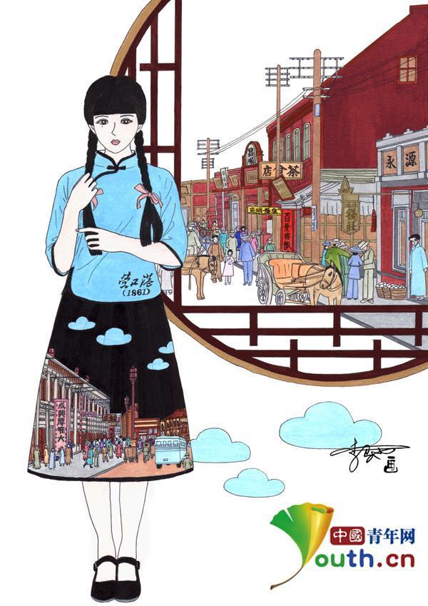 驰用画笔描绘出家乡营口港口百年沧桑变迁,创造系列画作《美美哒