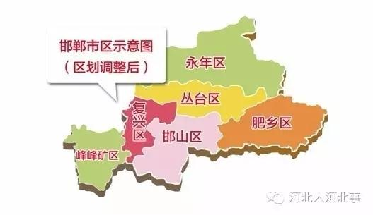 邯郸市部分行政区划调整示意图 9月30日召开的邯郸市部分行政区划调整动员大会上获悉,国务院日前批复同意邯郸市部分行政区划调整。调整后,邯郸市城区面积由原来的655.7平方公里扩大至2661.8平方公里,人口由161万增至367万。 据史书记载,邯郸在公元前四百九十七年,甚至公元前五百年已是赵氏控制下的晋国之县,亦是现今河北县名中最古老者之一。 国务院批复同意: 一、撤销肥乡县,设立邯郸市肥乡区,以原肥乡县行政区域为肥乡区行政区域; 二、撤销永年县,设立永年区,以原永年县行政区域(不含南沿村镇、小西堡乡、