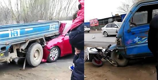 河北奇葩车祸:1234轮连撞