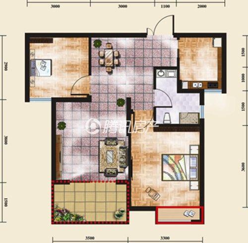 116㎡的大气三室两厅一卫户型.