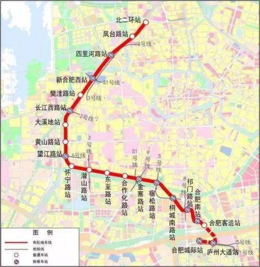合肥地铁9号线 S1机场线 有轨电车,交通路线规划图片