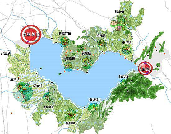 本次规划包括合肥市滨湖新区,巢湖市市区,肥东县长临河镇,肥西县三河
