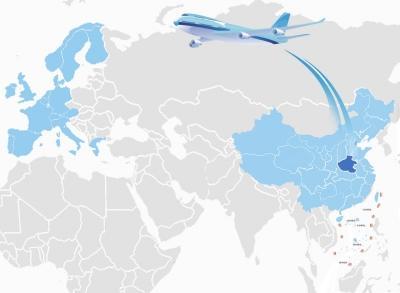 此外,航线流域也正在日益加宽,在中国版图上已延伸到北京,上海图片