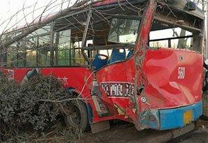 郑州一辆公交车被撞后冲入绿化带