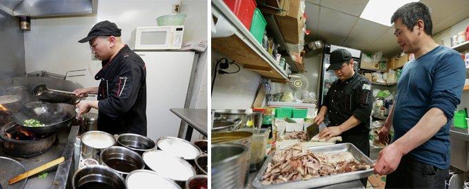 谢富江(右一)在乡约小馆后厨。