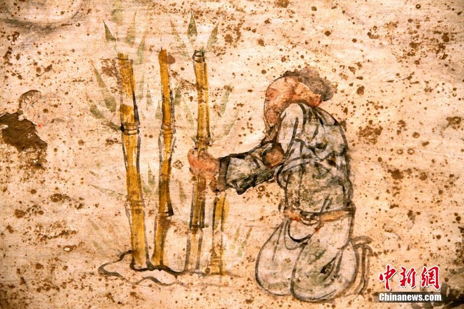 高清 陕西横山元代壁画墓发现夫妇6人宴饮图