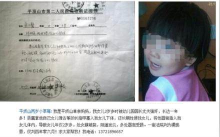 平顶山2岁女童在幼儿园遭性侵 母亲流泪控诉