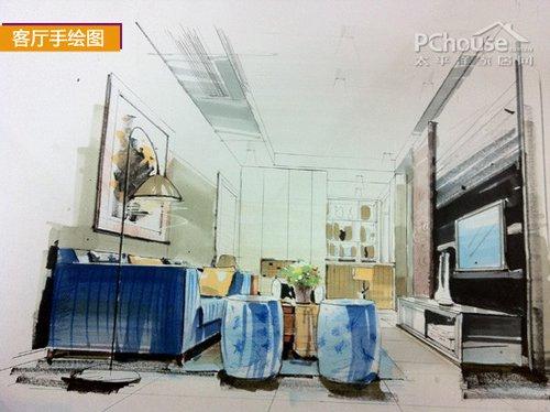 书房透视图手绘图