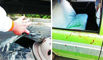 水泥罐车爆胎崩飞出租车 乘客气管被碎玻璃划开