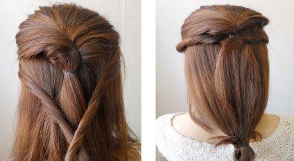 将两缕头发用发夹固定在发辫下方;用皮筋梳起发尾.