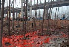 义昌大桥坍塌现场现不明红色液体