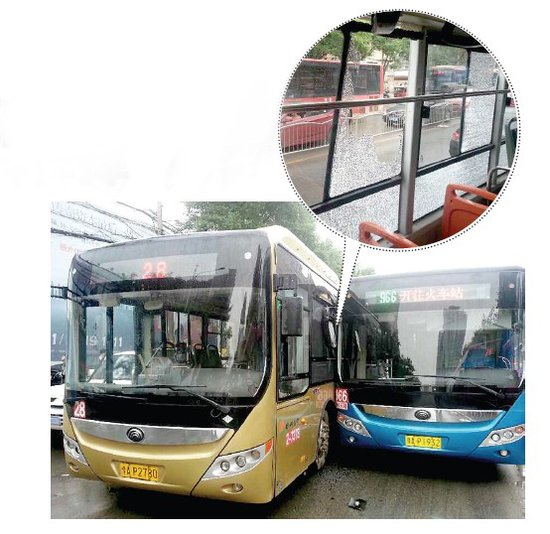 郑州俩公交车争道相撞女乘客脸吓白(图)_大豫