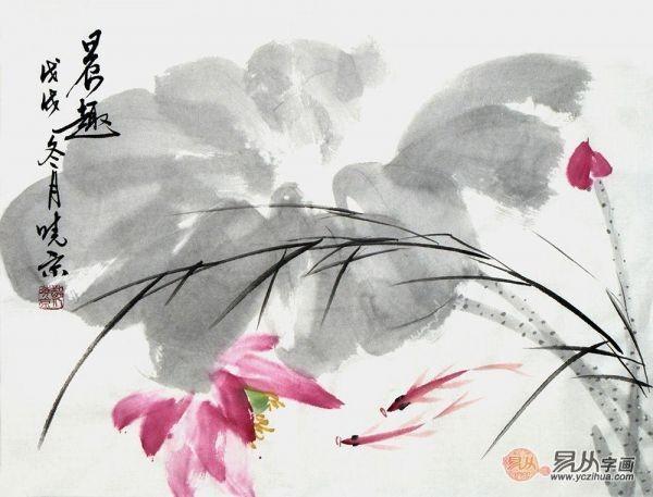 郑晓京老师写意荷花图《荷塘晨趣》(作品选自:易从网)