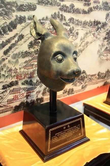 圆明园十二生肖兽首铜像展览,兔首(仿品)-十二生肖兽首之鼠首兔