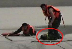 濮阳两儿童河面玩耍落水 消防匍匐冰面救援了