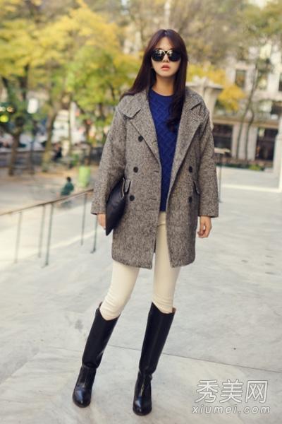 粗腿女生穿衣搭配 长外套搭长靴视觉显瘦