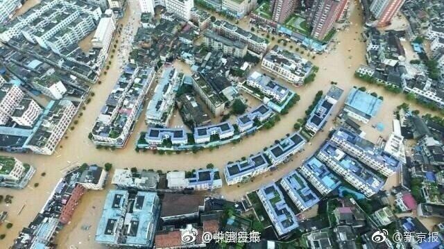 7月2日,长沙橘子洲已被洪水