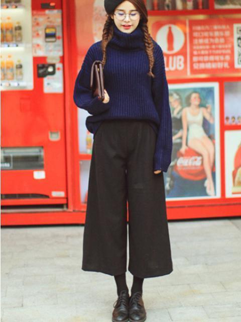 今天穿什么:高领衫阔腿裤