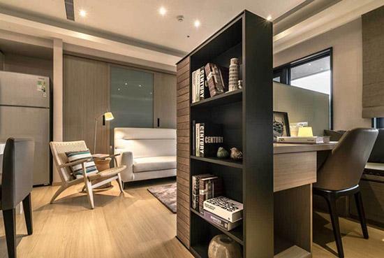 69平简约一居 电视矮墙区成功造出一间书房