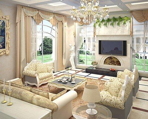 客厅精装修效果图 18图教你打造奢华的欧式客厅