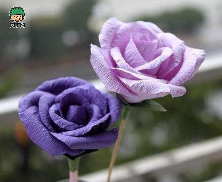 纸折玫瑰花步骤图解 diy皱纹纸折玫瑰花逼真假花制作步骤图