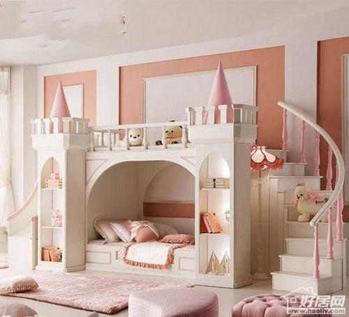 可爱的儿童家具,彩色欢乐双层组合床