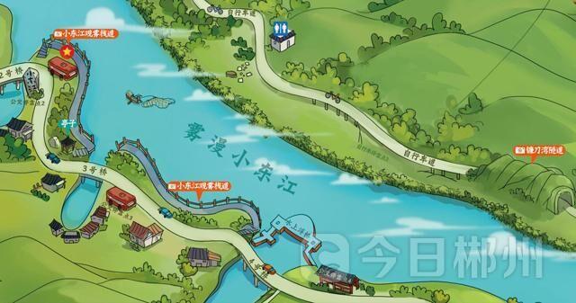 """""""《东江湖手绘旅游地图》制作团队乐东江负责人黄敏说,在一次去张家界"""
