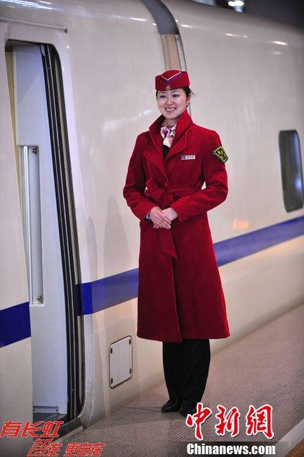 高铁美女乘务员 火车票查询