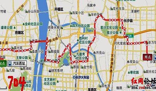 (704路公交线路图)-网友晒长沙 贪食蛇 公交线路 呼吁合理线路图片