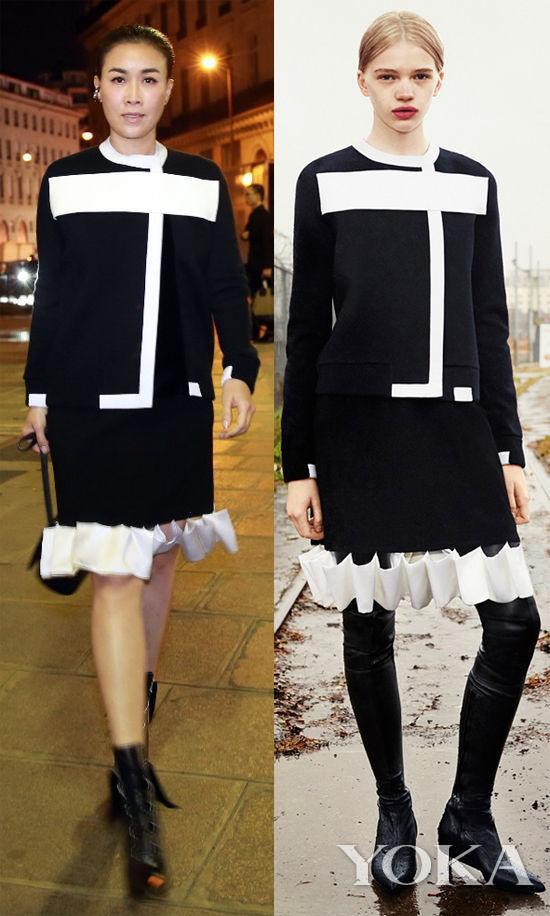 那英身穿Givenchy 2015 早秋系列立体剪裁裙在秀场外