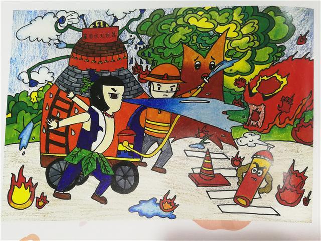消防员简笔画儿童-我是小小消防员 首届全国儿童消防绘画大赛优秀作品