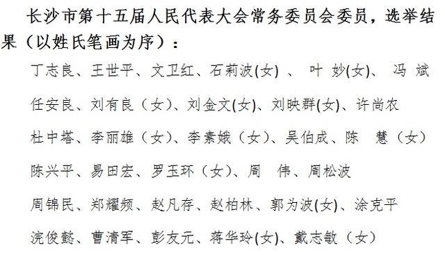 程水泉当选长沙市人大常委会主任 陈文浩当选市长