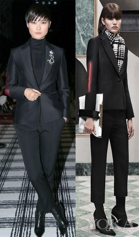 李宇春身穿Balenciaga 2015早秋亮相秀场,又一款黑色look,这也是春春正式拉开与那英时装周大战的第一款look。