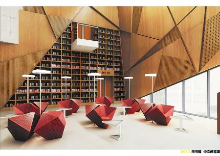 新市图书馆设计时尚 可同时容纳7000人阅读