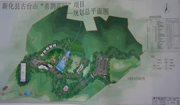 """""""喜鹊庄园""""项目规划总平面图 7月31日,笔者从新化县古台山林场了解到"""