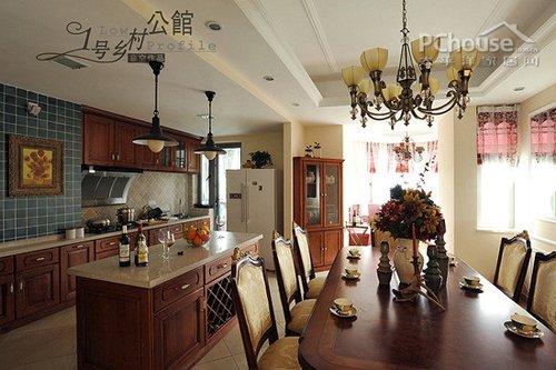 美式乡村风格厨房餐厅装修效果图;; 1号乡村公馆 美式风情别墅设计