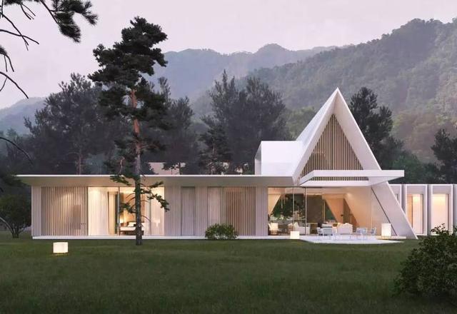 这个山地房屋是一个等腰三角形建筑,总面积为 273㎡.图片