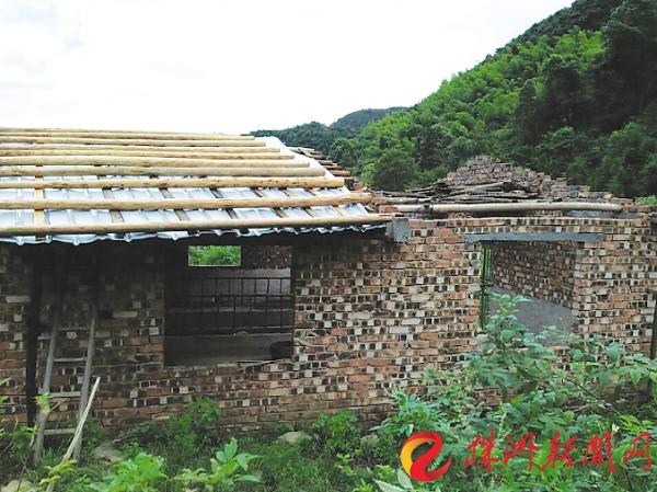 株洲茶陵县发生7级大风 瓦片乱飞房梁砸伤牛