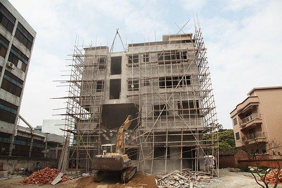 海口磊丰农庄项目占用林地非法抢建 1.8万m2违建一天拆除