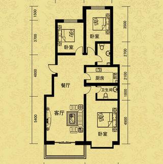 A户型3室2厅1卫138.14�O