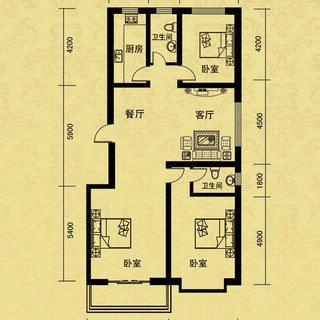 B户型3室2厅2卫 149.00平