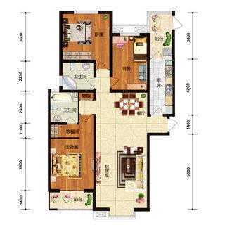 华林国际C3户型3室2厅2卫143.48平