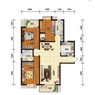华林国际C6户型3室2厅2卫 143.52平