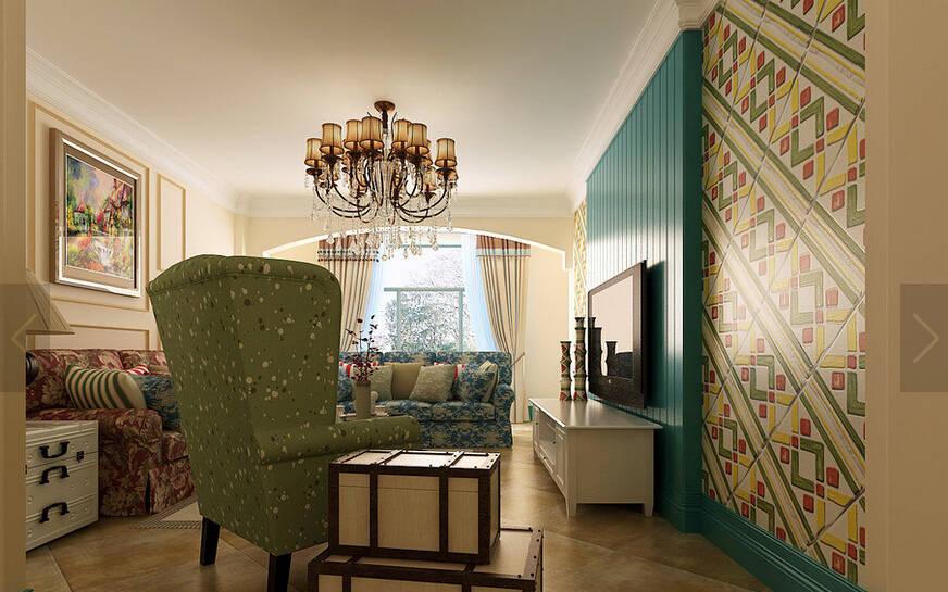三居室地中海风格过道吊顶装修效果图 高清图片