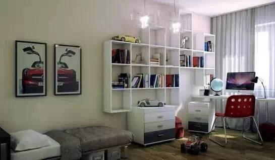 悬挂式书架在墙面上安置悬挂式书架,节省出低部空间,用来安置储