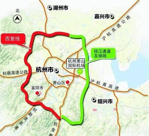 富春江、杭新景高速、杭黄铁路等主要节点,终于杭金衢高速公路直