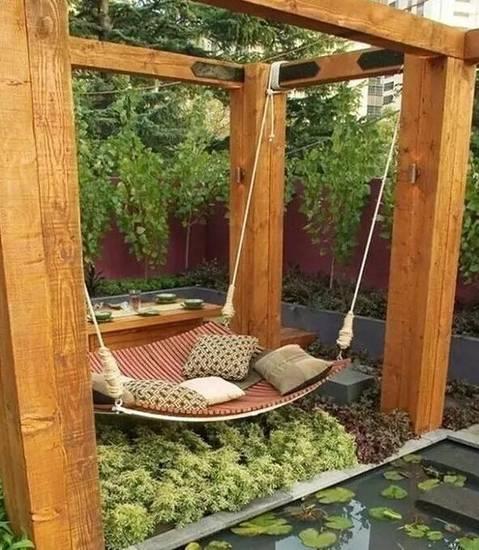 创意花园吊床设计,午后慵懒的一躺。