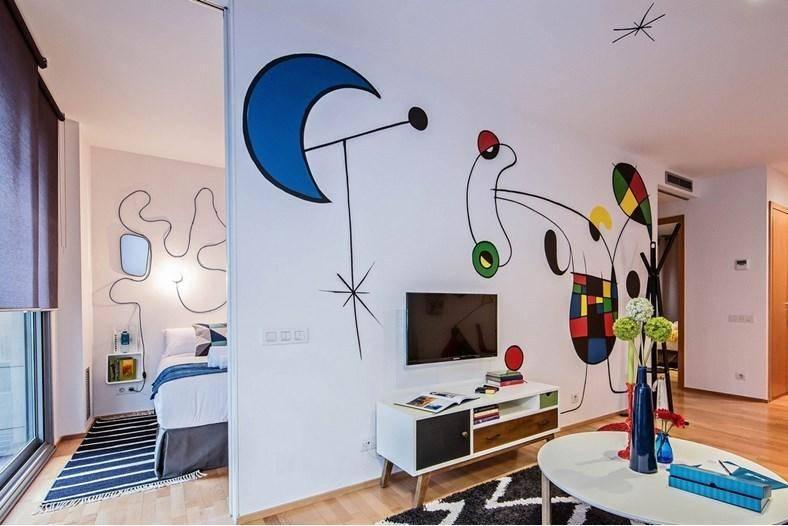 夸张涂鸦带入俏皮公寓 让出租屋也能充满人情味儿图片
