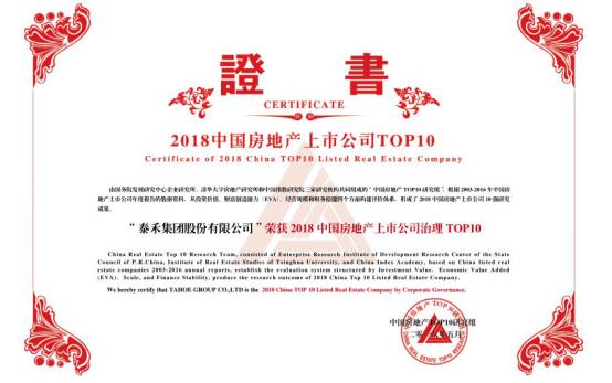泰禾集团获2018上市地产公司投资价值TOP10等大奖