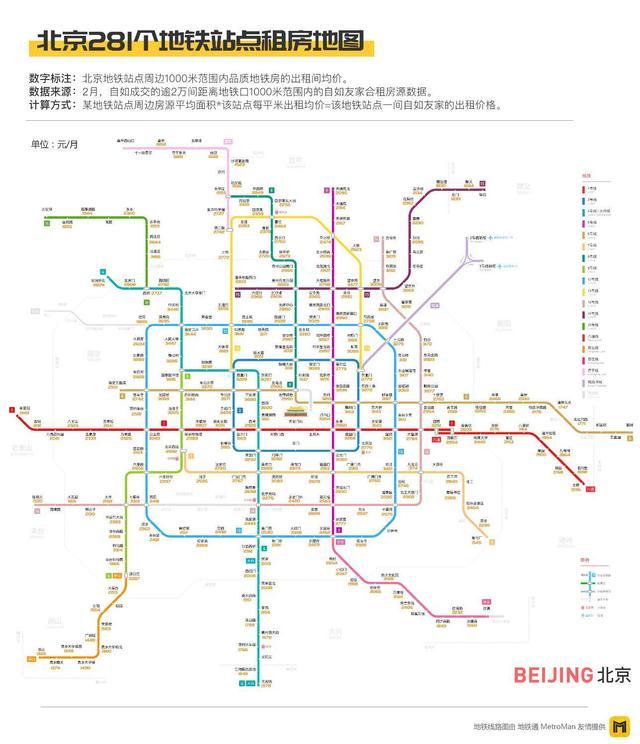 五城千站地铁租房价格地图发布 北京多坐一站租金省500